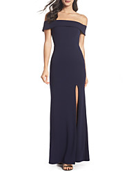 cheap -Sheath / Column Off Shoulder Floor Length Jersey Dress with Split Front by LAN TING Express