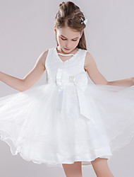 cheap -Princess Dress Masquerade Flower Girl Dress Girls' Movie Cosplay A-Line Slip Cosplay Vacation Dress White Dress Halloween Carnival Masquerade Tulle Polyester