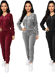 cheap -Women's 2-Piece Full Zip Tracksuit Sweatsuit Casual Long Sleeve Velour Windproof Breathable Soft Running Fitness Jogging Sportswear Athletic Clothing Set Athleisure Wear Black Burgundy Gray Activewear