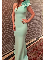 cheap -Mermaid / Trumpet One Shoulder Floor Length Satin Elegant Prom / Formal Evening Dress with Appliques / Bow(s) / Ruffles 2020