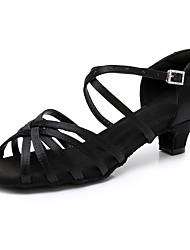 cheap -Women's Dance Shoes Satin Latin Shoes / Salsa Shoes Buckle Heel Thick Heel Customizable Black / Dark Brown / White