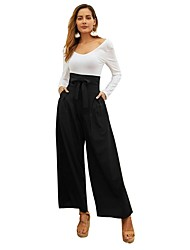 cheap -Women's Basic Chinos Pants - Solid Colored Black Wine Green XS S M