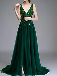 cheap -A-Line Elegant Prom Formal Evening Dress V Neck Sleeveless Sweep / Brush Train Chiffon with Beading Sequin 2020