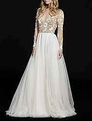 cheap -A-Line V Neck Court Train Lace / Tulle Long Sleeve Made-To-Measure Wedding Dresses with Beading / Appliques 2020
