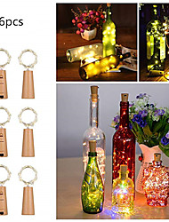 cheap -6pcs 0.75m 15 LEDS Wine Bottle Lights With Cork Built In Battery LED Cork Shape Silver Copper Wire Colorful Fairy Mini String Lights