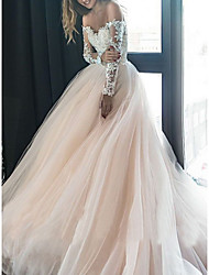 cheap -A-Line Wedding Dresses Off Shoulder Sweep / Brush Train Tulle Long Sleeve Illusion Sleeve with Lace Insert 2020