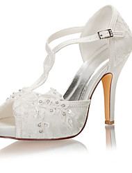 cheap -Women's Wedding Shoes Stiletto Heel Peep Toe Crystal / Pearl Satin Summer Ivory