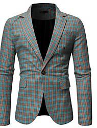 cheap -Men's Blazer, Plaid Notch Lapel Polyester Green / Gray