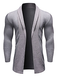 cheap -Men's Solid Colored Long Sleeve Cardigan Sweater Jumper, Shirt Collar Fall / Winter Black / Navy Blue / Gray US42 / UK42 / EU50 / US44 / UK44 / EU52