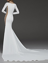 cheap -Sheath / Column Jewel Neck Court Train Jersey Long Sleeve Made-To-Measure Wedding Dresses with Appliques / Split Front 2020