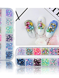 cheap -12 Grids Multicolor Charms Nail Art Decorations Magic Pearl Rhinestones Mermaid Gradient Beads Mixed Size 3D DIY Manicure Set