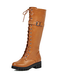 cheap -Women's Boots Low Heel Round Toe PU Knee High Boots Casual / British Fall & Winter Black / Brown / Yellow