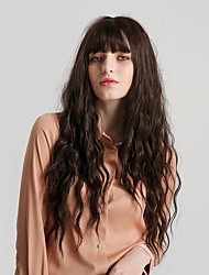 cheap -Synthetic Wig Bangs Curly Water Wave Side Part Neat Bang With Bangs Wig Very Long Brown Synthetic Hair 28 inch Women's Cute Cosplay Women Brown HAIR CUBE