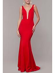 cheap -Sheath / Column Elegant Formal Evening Dress Plunging Neck Sleeveless Sweep / Brush Train Jersey with Pleats 2021