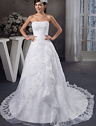 cheap -A-Line Wedding Dresses Strapless Chapel Train Lace Organza Satin Strapless with Beading Appliques Cascading Ruffles 2020