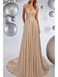 cheap -A-Line Boat Neck Sweep / Brush Train Chiffon Elegant Formal Evening Dress with Pleats / Lace Insert 2020