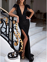 cheap -Mermaid / Trumpet Sexy Black Engagement Formal Evening Dress V Neck Sleeveless Sweep / Brush Train Sequined with Sequin Split 2020