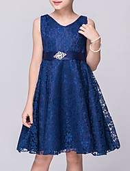 cheap -A-Line V Neck Knee Length Lace Junior Bridesmaid Dress with Sash / Ribbon