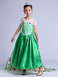 cheap -Princess Movie / TV Theme Costumes Elsa Dress Cosplay Costume Party Costume Kid's Christmas Halloween Children's Day Festival / Holiday Chiffon Terylene Green Carnival Costumes Print / Cotton