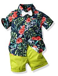 cheap -Kids Boys' Basic Geometric Short Sleeve Clothing Set Green