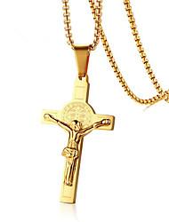 Недорогие -Муж. Ожерелья с подвесками геометрический Крест Мода Титановая сталь Золотой 50 cm Ожерелье Бижутерия 1шт Назначение Повседневные Офис