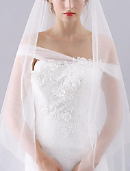 cheap -Two-tier Classic Style / Lace Wedding Veil Fingertip Veils with Solid POLY / Lace