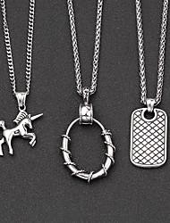 cheap -Men's Pendant Necklace Classic Mini Simple Chrome Silver Silver 2 Silver 3 60 cm Necklace Jewelry 1pc For Daily