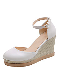 cheap -Women's Heels Wedge Heel Round Toe PU Vintage / Casual Spring & Summer Black / White / Pink / Color Block