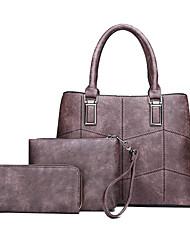 cheap -Women's Leather / PU Bag Set Solid Color 3 Pcs Purse Set Black / Brown / Purple / Fall & Winter