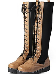 cheap -Women's Boots Flat Heel Round Toe Suede Knee High Boots Winter Black / Dark Brown / Yellow