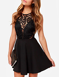 cheap -Women's Mini Black Dress Sexy New Year Going out Club A Line Solid Colored Lace Backless S M