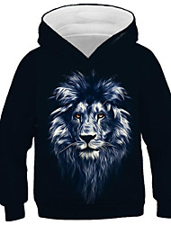 cheap -Kids Boys' Active Punk & Gothic Lion Color Block 3D Animal Long Sleeve Hoodie & Sweatshirt Black
