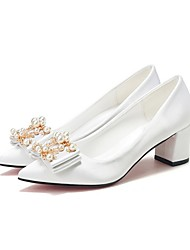 cheap -Women's Wedding Shoes Chunky Heel Pointed Toe PU Fall & Winter White / Champagne