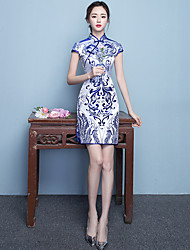 cheap -Adults' Women's Chinese Style Chinese Style Cheongsam Qipao For Party Daily Silk / Cotton Blend Halloween Carnival Masquerade Cheongsam