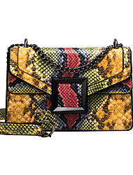 cheap -Women's PU Crossbody Bag Snakeskin Black / Blushing Pink / Yellow