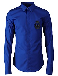 cheap -Men's Daily Shirt - Geometric Embroidered Royal Blue