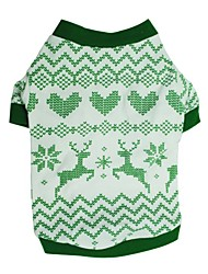 cheap -Dog Shirt / T-Shirt Winter Dog Clothes Green Costume Cotton Print Cosplay Christmas XS S M L
