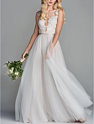 abordables -Trapèze Col en V Traîne Brosse Satin / Tulle Bretelles Classiques Robes de mariée sur mesure avec Broderie 2020