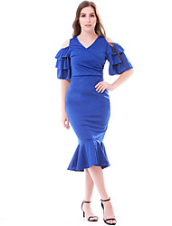 cheap -Women's Daily Wear Basic Bodycon Dress - Solid Colored Patchwork Blue S M L XL