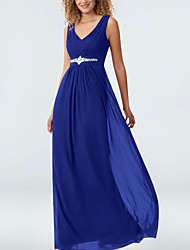 cheap -A-Line Elegant Formal Evening Dress Plunging Neck Sleeveless Floor Length Chiffon with Pleats Crystal Brooch 2021