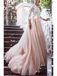 cheap -A-Line V Neck Chapel Train Lace / Tulle Long Sleeve Wedding Dresses with Draping / Appliques 2020