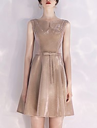cheap -A-Line Jewel Neck Short / Mini Polyester Dress with Bow(s) by LAN TING Express
