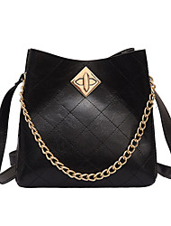 cheap -Women's Chain Polyester / PU Tote Leather Bags Solid Color White / Black / Red / Fall & Winter