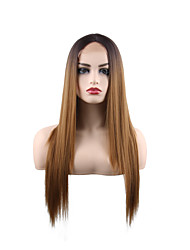cheap -Synthetic Lace Front Wig Natural Straight Middle Part Lace Front Wig Long Synthetic Hair 28 inch Women's Smooth Women Fashion Brown