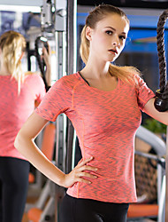 cheap -YUERLIAN Women's Running Shirt Camo / Camouflage Black Violet Green Red Blue Elastane Yoga Running Fitness Tee / T-shirt Short Sleeve Sport Activewear Breathable Moisture Wicking Quick Dry 4 Way