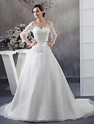 cheap -Ball Gown V Neck Chapel Train Organza / Satin Long Sleeve Illusion Sleeve Wedding Dresses with Lace / Ruched 2020 / Bell Sleeve