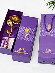 Недорогие -имитация 24k золотая фольга роза креативная пара подарок на день рождения подарок
