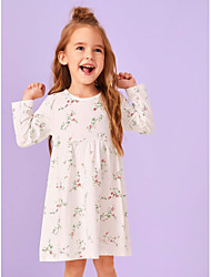cheap -Kids Toddler Girls' Flower Cute Daisy Sun Flower Rose Plants Floral Ruffle Patchwork Print Long Sleeve Knee-length Dress White