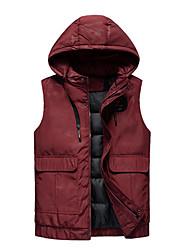 cheap -Men's Daily / Beach Fall / Winter Regular Vest, Solid Colored Hooded Sleeveless Polyester Black / Blue / Red