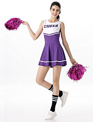 cheap -Cheerleader Cowboy Teenager Women's Grid Stage Props Dress Costume For Halloween Performance Nylon Tactel Patchwork Halloween Carnival Masquerade Dress Handheld Poms